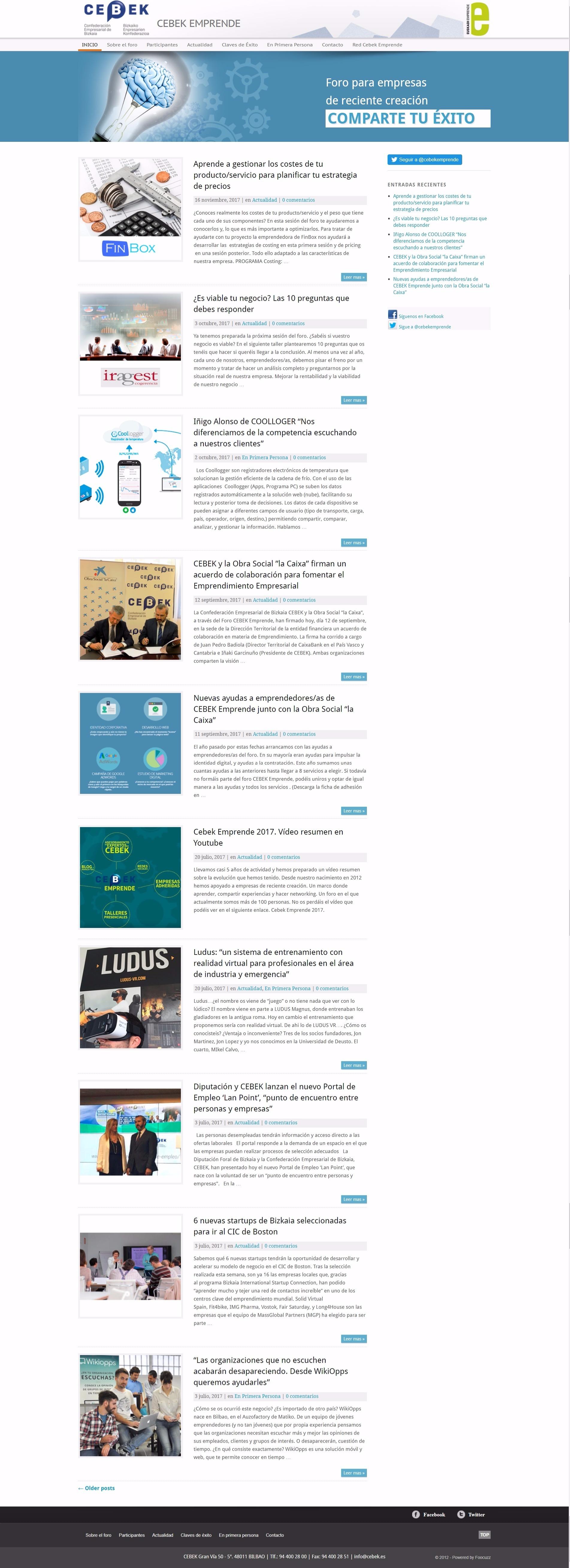 Diseño y desarrollo web Cebek Emprende